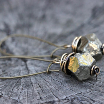 Wire Wrapped Earrings Raw Pyrite Earrings Pyrite Drop Earrings Bohemian Earrings Bohemian Jewelry Boho Earrings Boho Jewelry Raw Gemstone