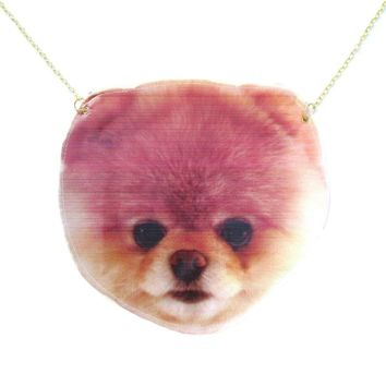 Pomeranian Boo Puppy Dog Face Shaped Animal Themed Vinyl Cross Body Shoulder Bag
