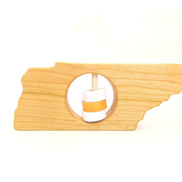 TENNESSEE State Baby Rattle - Modern Wooden Baby Toy - Organic and Natural