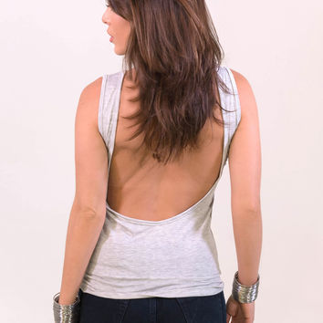 Low Scoop Back Top Grey