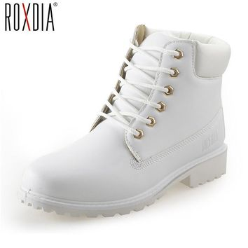 Fashion Online Roxdia Autumn Winter Women Ankle Boots New Fashion Woman Snow Boots For Girls Ladies Work Shoes Plus Size 36-41 Rxw762