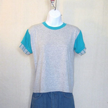 Vintage 80s RAYON BLANK Plain Women Small Tri Blend Grey Athletic Style Amazing T-SHIRT
