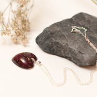 Eco Chic Red Rose Petals and Gold Leaf Flake Encapsulated in a Dainty Little Heart Pendant, Eco Friendly Christmas Gift