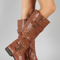 Fab-1 Zipper Buckle Riding Knee High Boot