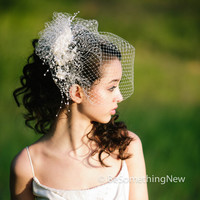 birdcage veil with flower and pearl spray, modern veil, wedding headpiece