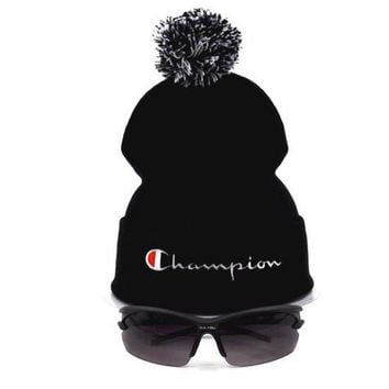 Champion Women Men Embroidery Beanies Winter Warm Knit Hat Cap-2