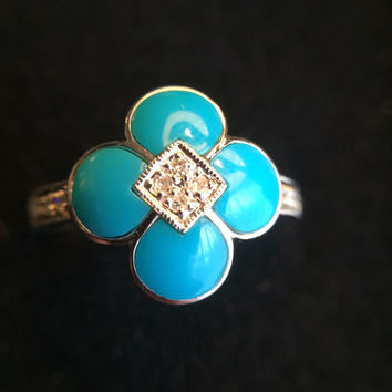 Vintage Turquoise Ring with Diamond Accent Stones.  14K White Gold Ring. Engagement Ring.  Estate Fine Jewelry.  **Layaway Available**