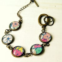 fancy flowers antique brass cabochon bracelet, floral, bohemian, boho, pink blue,