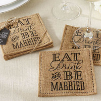 """Eat, Drink & Be Married"" Burlap Coaster Wedding Favors"