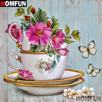 5D Diamond Painting Flowers and Tea Cups Kit