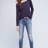 Mother Looker Mid-Rise Frayed Ankle Jeans