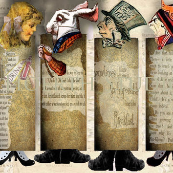 Alice in Wonderland Printable Bookmark Collage Fairytale Instant digital download