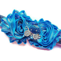Princess Headband - Blue Cinderella Carriage Princess Head Band - Blue and Silver Headband for Girls - Sparkle Headband - Glitter Headband