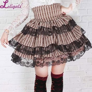 Sweet Layered Princess Striped Short Kawaii Pleated Lolita Skirt for Girl with Lace up Back