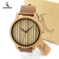 Japan Movement 2035 Natural Round Bamboo Watches With Genuine Cowhide Leather Wristwatch for Men and Women Wood Watches as Gifts