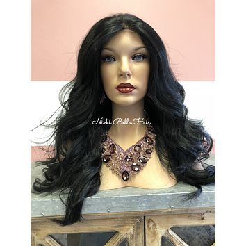 Black 4x4 Multi Parting| Wavy Swiss lace front wig | Loose Wave |My Angel|  51829