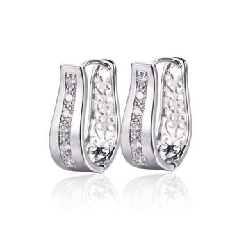 2 in 1 Platinum Plated with Crystal Diamonds Filigree Hoop Earrings