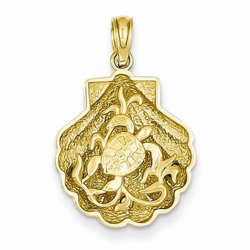 14k Yellow Gold Sea Turtle in a Shell Pendant