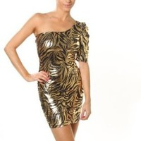 Sexy Clubwear Dress Glitter Animal Print One Sleeve Mini