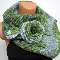 Neck Warmer, Unique hand-knitted scarf,Boutique scarf Neck Warmer shades of green notes combined with light blue , Hand knit - Neck Warmer