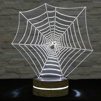 3D LED Lamp, Spider Web Shape, Decorative Lamp, Home Decor, Table Lamp, Office Decor, Plexiglass Art, Art Deco Lamp, Acrylic Night Light