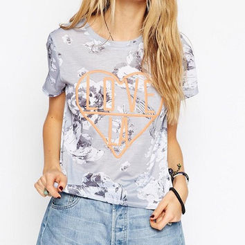 Grey Embroidered Love Floral Printed T-Shirt