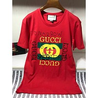 x1love GUCCI  women's slim fit embroidered V-neck T-shirt