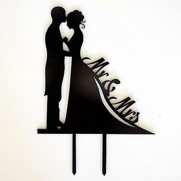 Mr and Mrs Silhouette Black Bride and Groom Wedding Cake Topper Laser Cut