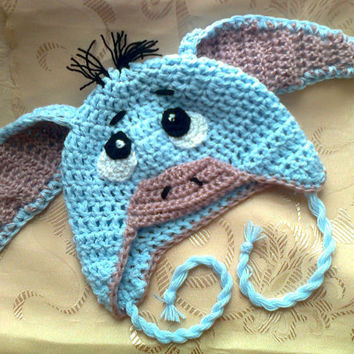 Crocheted Eeyore Hat , Cap, Animal Hat, Ear-flap Hat, Photo prop, Baby gift