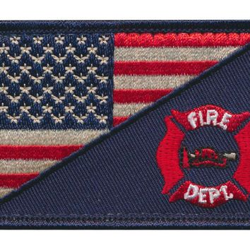 Tactical USA Flag / FireFighter Fire Department Embroidered Patch