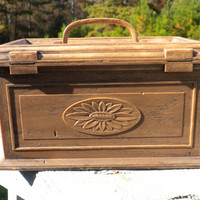 Sewing Box Mid Century Lerner New York 1960s Modern Brown Faux Wood Case with Sunflower Medallion and Clear Insert Tray Seamstress Gifts