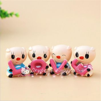 "4PCS Auto Supplier ""LOVE"" Lovely Pig Car Decoration Auto Ornament Resin Couple Doll Car Interior Accessories For New Year Gifts"
