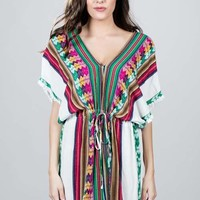 Tribal Print Tunic Dress - White