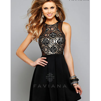 Faviana 7660 Black & Gold Sequined High Neck Short Dress 2015 Homecoming Dresses