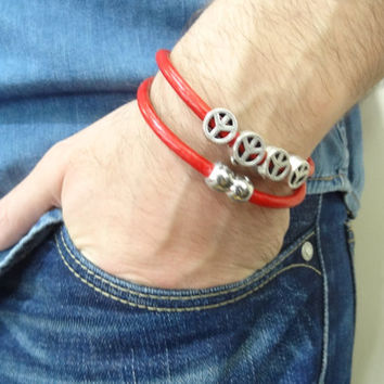 Unisex Red Leather Double Bracelet, Unisex Jewelry, Magnet Clasp Bracelet,  Peace Cuff Bracelet, Valentine's Gifts