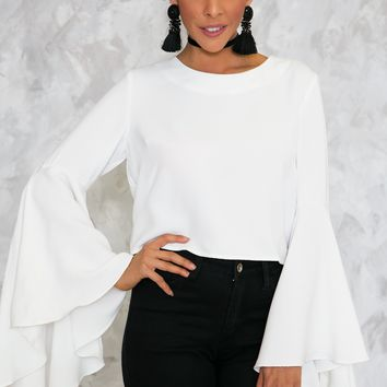 EVELYN BELL-SLEEVE TOP - WHITE /// ONLY 1-S LEFT ///