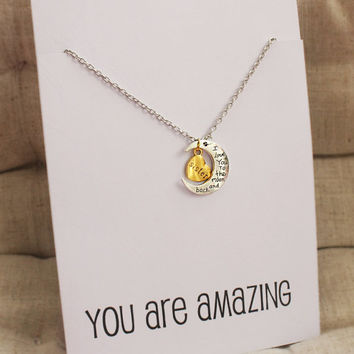 Love You Sister Moon and Heart Woman Pendant Stone Necklace
