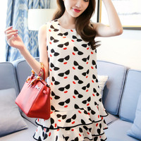 Eyeglasses + Lips Layered Sleveless Dress