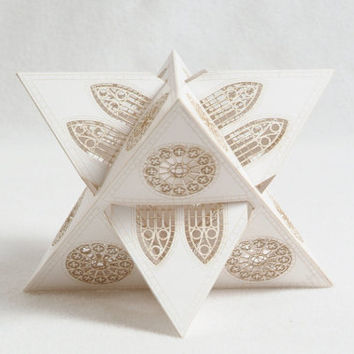 White Paper Orb, Laser Cut, Home Decor, Geometric Ornament, Architectural, stained glass design