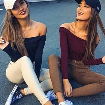 Fashion Women Off Shoulder Sweaters 5 Style Long Sleeve Slash Neck Pullover Slim Solid Knit Short Length Tops