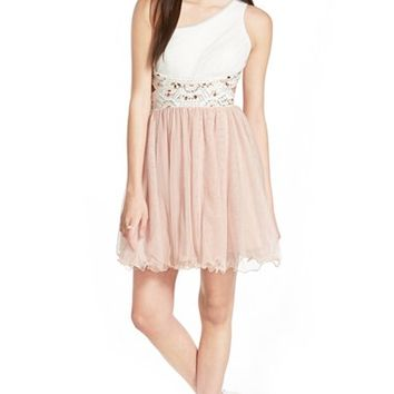 Junior Women's Blondie Nites One-Shoulder Open Back Skater Dress,