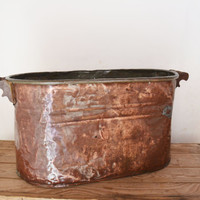 Vintage Copper Boiler, Primitive Wash Tub, Cauldron Pot, Rustic Farmhouse, Copper Tub, Outdoor Planter, Copper Pot, Boiler Pot, Rustic Pot