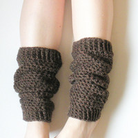 Crochet Netted Leg Warmers in Mink Brown Wool Blend, MADE TO ORDER.