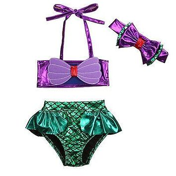 Little Mermaid Bikini Swimsuit with Bow