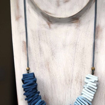 Ombre Blue Necklace - Polymer Clay Square Tiles - Sky Blue, Cornflower, Navy Blue - Statement, Bohemian - Gray Leather - Gift Box - OOAK
