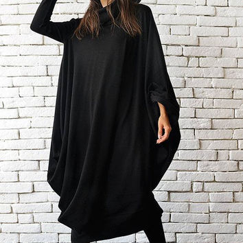 Maxi Black Dress / Black Kaftan Dress / Extravagant Plus Size Dress / Comfortable Everyday Dress / Long Loose Tunic by METAMORPHOZA