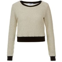 New Look Mobile | Cream Contrast Trim Textured Sweater