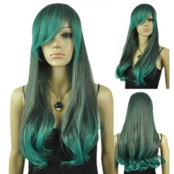 Qiyun Women's Blue Gray Mix Multi-Colored Straight Wavy Fancy-Dress Full Cosplay Anime Costume Wig