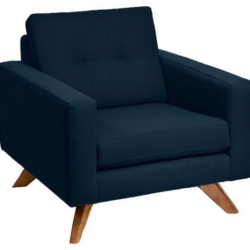Superb Laura Modern Chair, Navy, Club Chairs