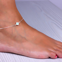 "Clover anklet, sterling silver ankle bracelet, lucky anklet, four leaf clover bracelet, turquoise clover, good luck jewelry, ""Mimas"""